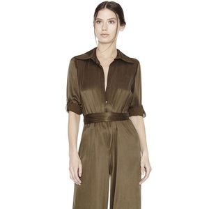 Forest green silk jumpsuit